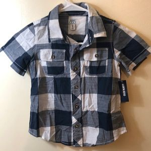 NWT OLD NAVY Boys' Navy Plaid Button Up Shirt